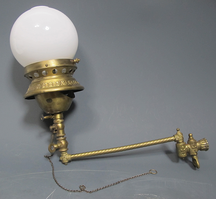 Wall Gas Lamps : Antique Victorian Wall Gas Lamp Brass Spelter Bracket Czech Milk Glass Shade yqz eBay