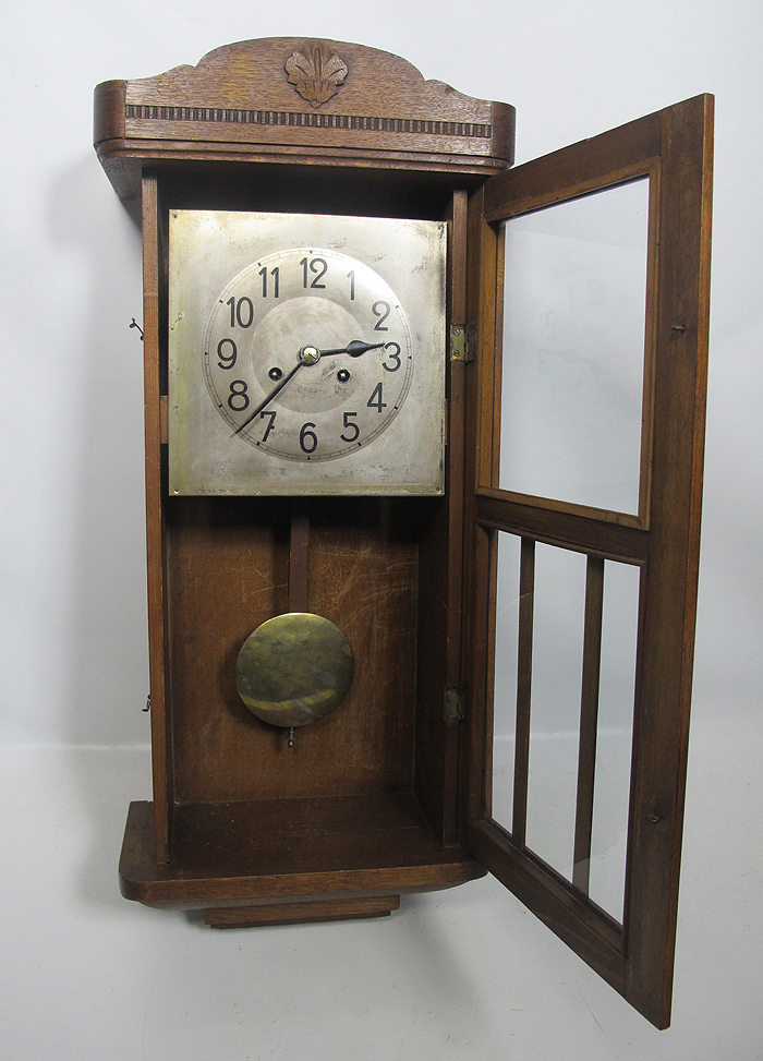 Antique German Orgel Gong Wooden Wall Clock w/ Caldwell ...